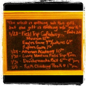 Our weekly schedule board, a repurposed old frame with chalk board paint on the inside